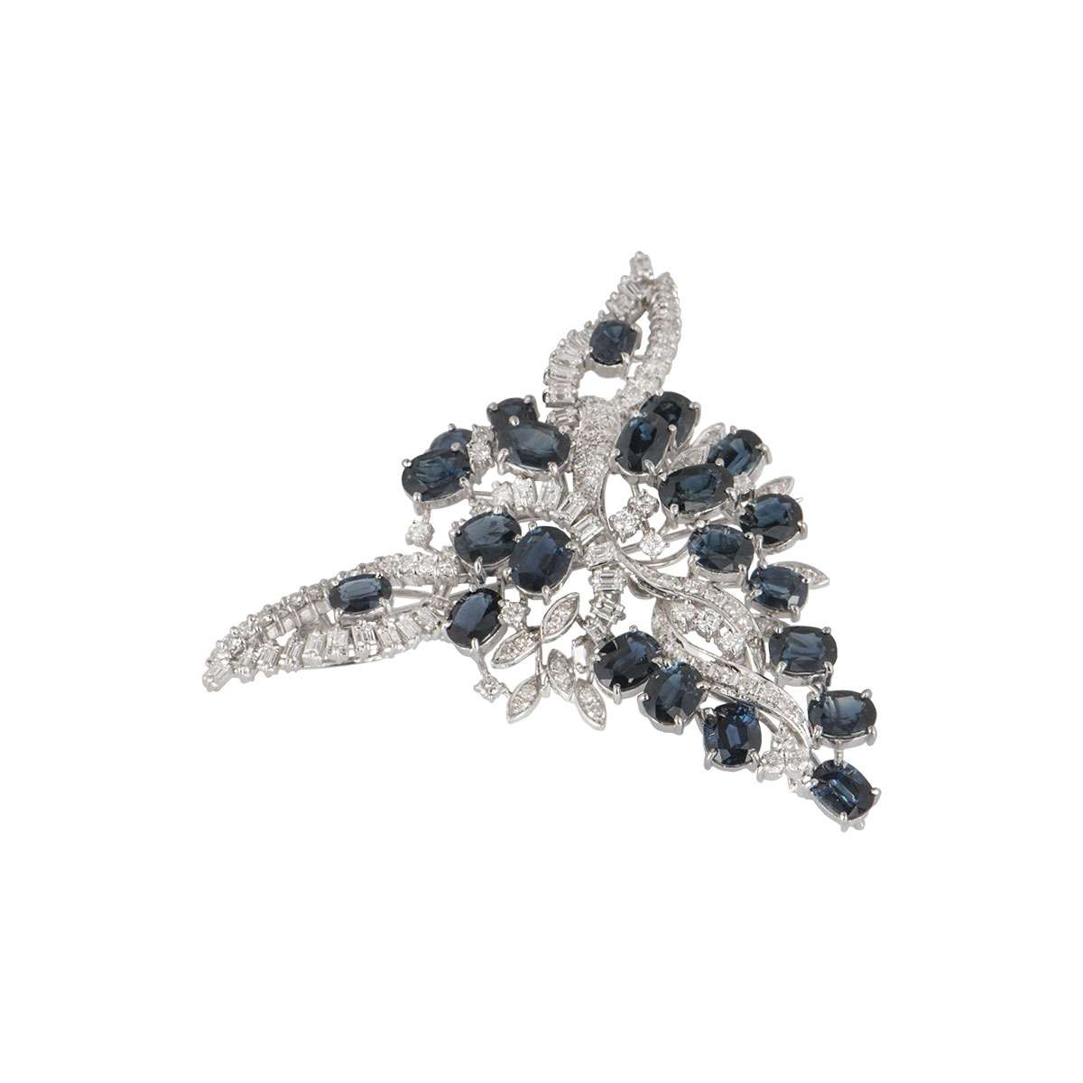 White Gold Sapphire and Diamond Brooch